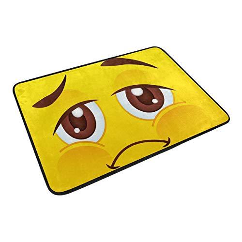FANTAZIO Emoji Emoticon felpudos para entrada al aire libre, alfombra recta para cocina/baño 23.6 x 15.7 pulgadas
