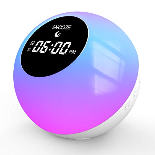 Wake- Up Light,Sunrise Alarm Clock, Wake Up Light for Home|Bluetooth Speakers Alarm Clock for Heavy Sleepers, 7 Colored Atmosphere Lamp|Sleep Aid 6 Nature Sounds for Baby,Travel Bedrooms Office