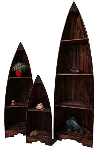 Naturesco Exotisches Bootsregal Regal Boot Holz Dunkelbraun erhältl. Höhen 195cm, 145cm, 95cm LengthRange 95cm