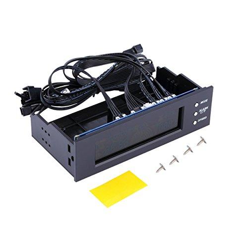 Lorenlli Panel LCD CPU Controlador de Velocidad del Ventilador Pantalla de Temperatura 5.25 Pulgadas PC Velocidad del Ventilador Controlador Duradero Control del Ventilador enfriado por Aire