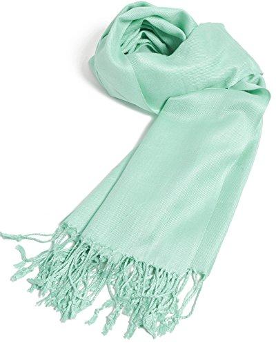 PeoplesMerchandise Premium Pashmina Schal und Wraps und Schals in einfarbigen Farben - Grün - Einheitsgröße