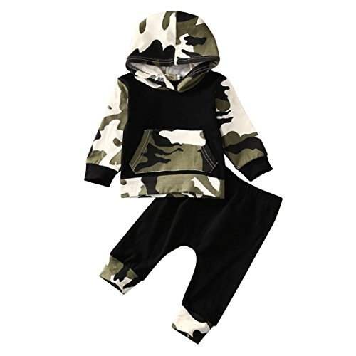 callm Newborn Infant Baby Boy 2pcs Camouflage Clothes Set Hoodie Tops+Pants Outfit (0~3 Months, Camouflage)