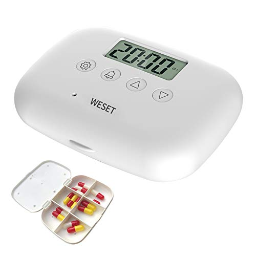 WESET Smart Pill Organizer, The Daily Portable Pill Dispenser, with Intelligent Reminders, Thermometer, and Time Management.