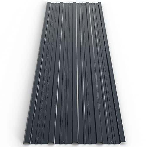 Deuba Pannelli da tetto 12 pezzi lastra tetto 129cm x 45cm = 7 m² verde - grigio lastra profilo cappanno officina antracite