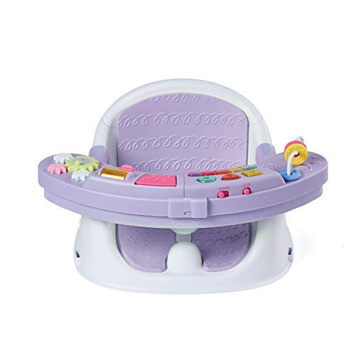 Infantino Music & Lights 3-in-1 Discovery Seat and Booster for girls - Convertible booster, infant activity seat and feeding chair with electronic piano for sensory exploration for babies and toddlers