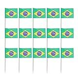 NUOBESTY 100 Stücke Mini Brasilien Flagge Kuchen Cupcake Topper Holz Zahnstocher Dessert Obst Picks Cocktail Picks für Welt Land Sport Partei Liefert