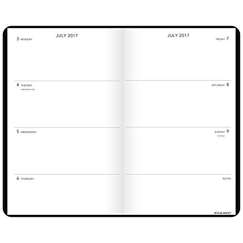 "AT-A-GLANCE Academic Weekly / Monthly Academic Bookbound Planner, July 2017 - June 2018, 5"" x 8-1/4"", Plan.Write.Remember., Black (70710105) Photo #2"