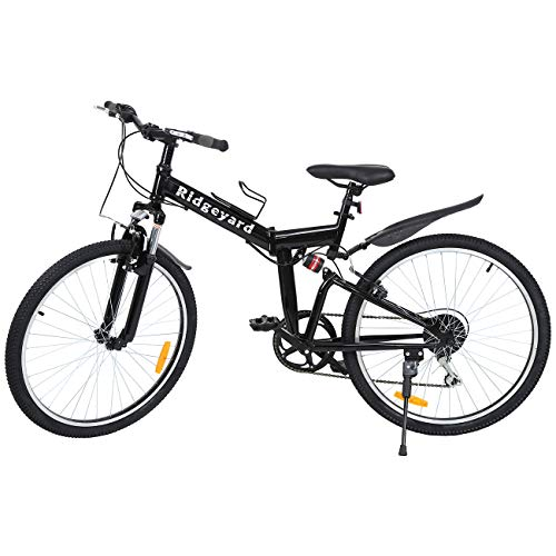 Ridgeyard 26' 7 velocidades Pieghevole Bici Pieghevole Bicicletta Mountain Bike Shimano (Negro)