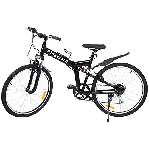 Ridgeyard 26' 7 velocidades Pieghevole Bici Pieghevole Bicicletta Mountain Bike Shimano (Negro)