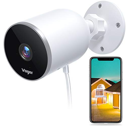 Voger Security Camera Outdoor, 1080P WiFi Home Surveillance with Motion Detection, Bullet Camera with 2-Way Audio, Night Vision, IP66 Waterproof, Support Cloud Service and Alexa