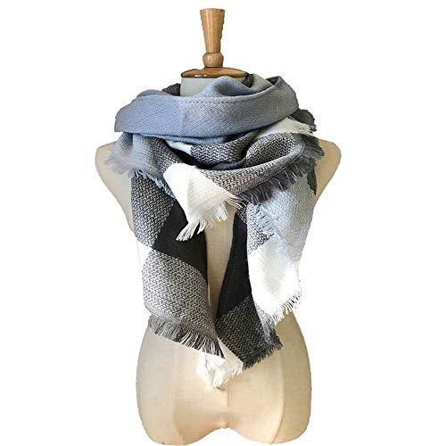 HUAHUA bufandas Caliente del otoño y del invierno bufandas, Pañuelo-mantón de la bufanda del babero del mantón Capa grande de tela escocesa colorida toalla cuadrada triángulo de doble cara de la tela