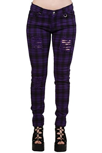 "Pantalones Ajustados Púrpura Tartán a Cuadros Rasgados Emo Punk de Banned - (XL / 34"" / ES 44)"