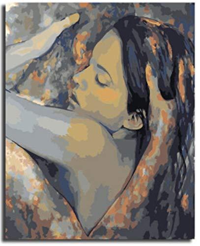 MBYWQ Verf Door Aantal Diy Woonkamer Slaapkamer Cartoon Karakter Landschap Kleurplaten Handgeschilderd Digitaal Schilderen Decoratieve Schilderij Knuffel Meisje (Zonder Framed)