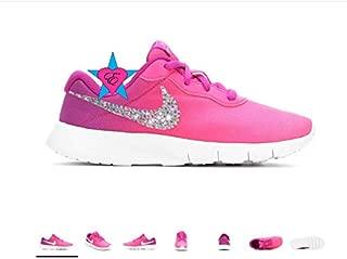 Rhinestone Crystal Bedazzled Girls' Nike Pink Rainbow Tanjun Print 10.5-3 Running