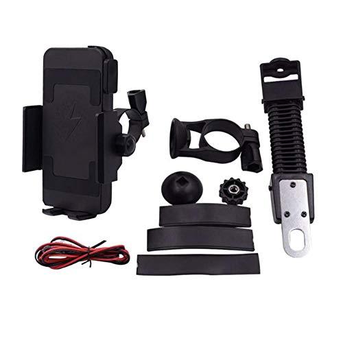 knowledgi - Soporte 2 en 1 de 10 W y 32 V para teléfono de Moto con Cargador inalámbrico para GPS de 4,5 a 7 Pulgadas (Negro)