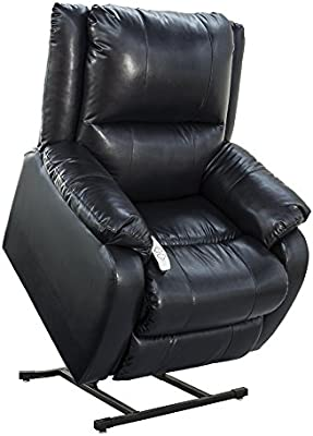 """NM-2650 (Sta-Kleen Vinyl-Royal Blue) Mega Motion Power Lift Recliner Chair.Weight Capacity: 375 lb. Suggested User Height: 5'6"""" to 6'. Free Curbside Delivery."""