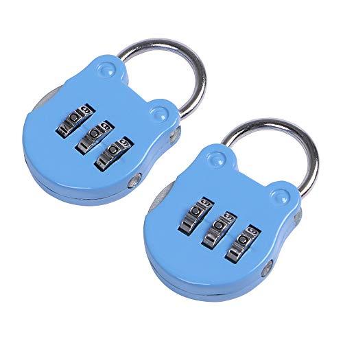 Eagle 3-cijferige combinatie hangslot, Bagageslot, Resettable Code Lock, Klein, ideaal voor koffer, kluisjes, draagbaar, 2-pack Blauw