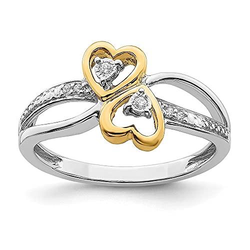 Anillo de oro pulido de 14 quilates de dos tonos de oro pulido con doble corazón de diamante, tamaño N 1/20, joyería regalos para mujeres
