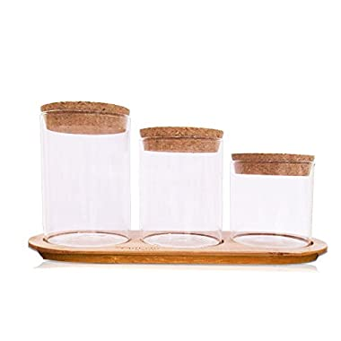 Glass Jar Set on Bamboo Tray and Natural Cork Lids | Bath Item Qtip Cotton Ball Canisters Decor | Seasonal Display | Decorative Centerpiece by SplashSoup