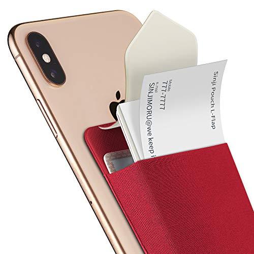 Sinjimoru Slim Wallet für Smartphones, Visitenkarten Etui mit Verschluss, Karten Portemonnaie für Handy, Card Holder, Wiederverwendbares Kartenetui für iPhone und Android, Sinji Pouch L-Flap, rot