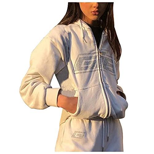 Amphia Damen Y2k ästhetischer Kapuzenpullover mit Reißverschluss,Brief-Druck,übergroßes Sweatshirt,Schlabberlook, E-Girl 90er Jahre, Langarmjacke/-Mantel