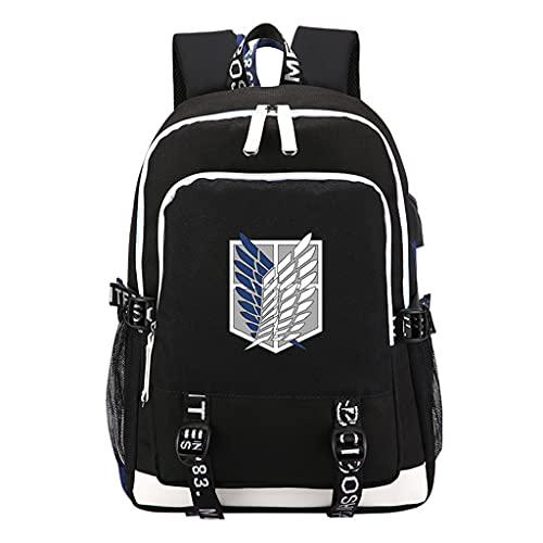 Anime Attack on Titan Rucksack Damen Herren, Levi Ackermann Cosplay Rucksack mit USB AOT Scouting Legion Aufklärungstrupp Daypack School Bags Tagesrucksack Reiserucksack Laptoprucksack (1,44*15*30CM)