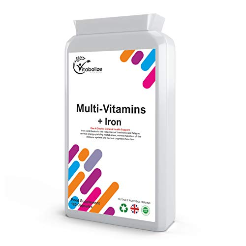 Multivitamins Plus Iron | 180 Tablets | for Men & Women | by Vitabolize