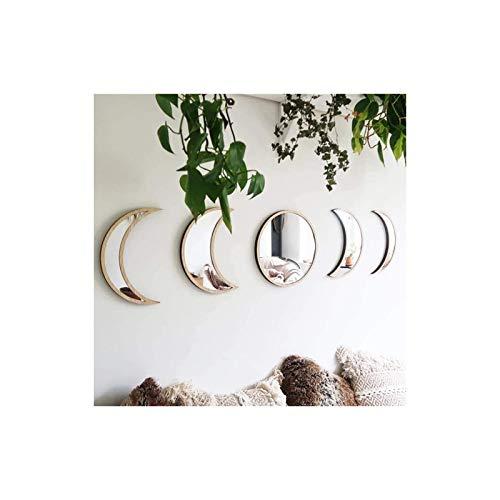 Delaspe Månfas spegel 5 st dekorationsspeglar akryl heminredning design trä bohemisk väggdekoration