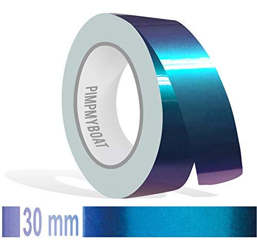 Siviwonder Zierstreifen Shift Effect Marine blau violett Glanz in 30 mm Breite und 10 m Länge Aufkleber Folie für Auto Boot Jetski Modellbau Klebeband Dekorstreifen - Flip Flop Autofolie Farbwechsel