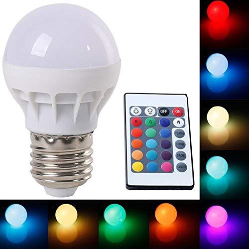 P12cheng AC 85-265 V 3 W E27 RGB LED Lampe Farbwechsel Lampe Lampe mit Fernbedienung – weißes Gehäuse