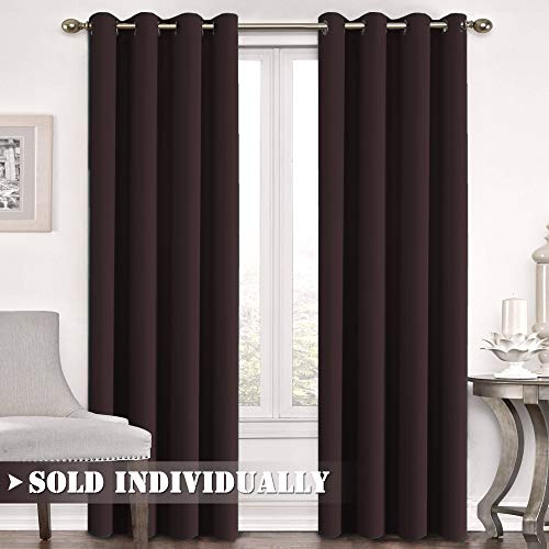 Blackout Curtain for Bedroom / Living Room Thermal Insulated Energy Efficient Window Treatment Curtain Drapes Draperies Soft Thick Smooth Room Darkening Single Panel 52'W x 96'L, Seal Brown