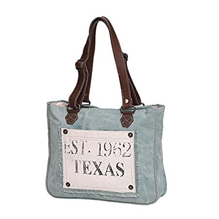Fashion Shopping Myra Bag Turquoise Texas Upcycled Canvas Hand Bag S-0885