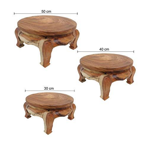Oriental Galerie Opiumtisch Tisch Beistelltisch Massiv Holz Couchtisch Rund Natur Thailand, Farbe:Natur, Größe:50cm Ø. 25cm - ca. 7.8Kg