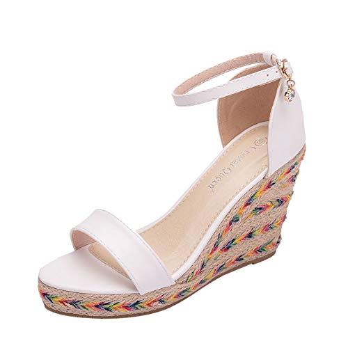 Sandalias de Verano Sandalia de Cuña para Mujer Blanco Zapatos de Novia...