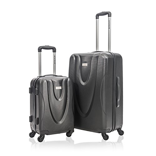 Jetstream 2 Piece Hardside Carry On Luggage Set Rolling Wheeled Spinner Travel Expandable Lightweight ABS Suitcase, (Black)