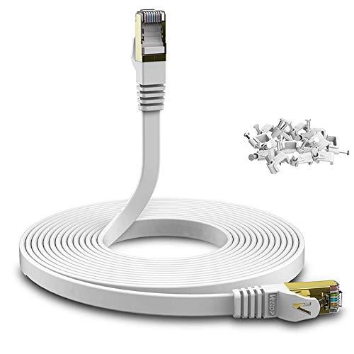 Veetop cat 7 Cable Ethernet 30 metros, Cable de red Alta Velocidad 10 Gbit/s 600 MHz con Conectores Rj45 Oro Plano - Blanco