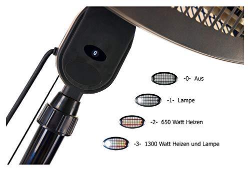 Stagecaptain TH-1300 Standheizstrahler - Infrarot-Heizstrahler mit 1300W Leistung - 2 Leistungsstufen - Leselampe - Sicherheits-Kippschalter - schwarz