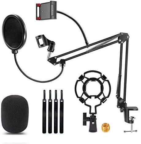 LIAOXIONG Asta per microfono, braccio a forbice cantilever(Nero)