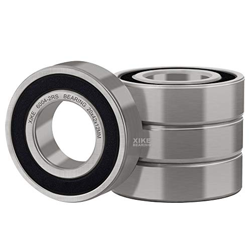 XiKe 4 Pcs 6004-2RS Double Rubber Seal Bearings 20x42x12mm, Pre-Lubricated and Stable Performance and Cost Effective, Deep Groove Ball Bearings.