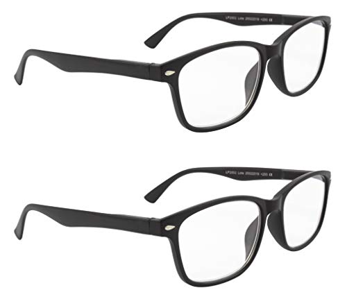 LIANDU 2-pack läsglasögon för kvinnor och män vår gångjärn läsglasögon hög kvalitet PC (2 matt svart) modell 202 +1,0 +1,5 +2,0 +2,5 +3,0 +3,5 +4,0 4 mattsvart