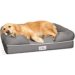 Golden Retriever laying on Grey Bolster dog bed.