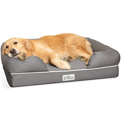 PetFusion Large Orthopedic Dog Bed, 4' Solid Memory Foam, Waterproof liner, Removable Cover. [Gray, Rectangle pet bed, dog couch, dog sofa, dog lounge]. Breathable cotton & polyester fiber blend
