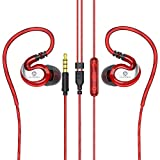 JAAMIRA Sports Wired Earbuds Over Ear Headphones with Microphone -Comfortable in Ear Ear Buds for Kids &Adults -Noise Cancelling Earphones 3.5mm Jack for Phone iPhone Computer Runing Workout Gym Red