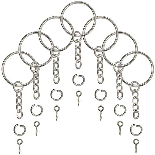 Split Key Ring with Chain, Open Jump Ring and Screw Eye Pins 1 Inch Key Chain Nickel Plated Silver 120pcs Bulk for Crafts