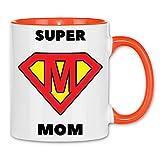 Print Dynastie Taza Super Mom Superhero celebración del Día de superhéroe Madre, Hija, Hijo Negro, Color:White Orange