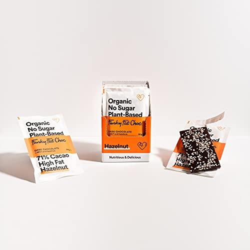 Chocolat sans sucre avec 71% de cacao, chocolat vegan à base de noisette, sans gluten, low carb, chocolat noir biologique, keto snack, 10 tablettes de 50gr