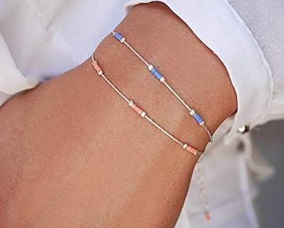 Lot de 2 Bracelets minimaliste argent 925 - chaine serpent argent - bracelet ultra fin - perles miyuki bleu et rose pastel - empilables