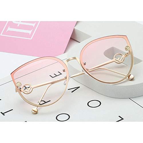 Sonnenbrille Sunglasses Cat Eye Sonnenbrille Frauen Luxusbrille Mode Frauen Sonnenbrille Klare Linse Cateye Weibliche Brille Randlos Farbverlauf C6Gradientpink