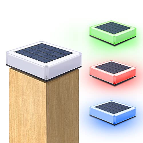 RGB Solar Post Cap Lights,APONUO Solar Deck Post Lights 20 LEDs RGB Colored Dusk to Dawn Auto On Solar Caps for Fence Posts 4x4 5x5 Wooden Posts Fence Deck or Patio (4 Pack)