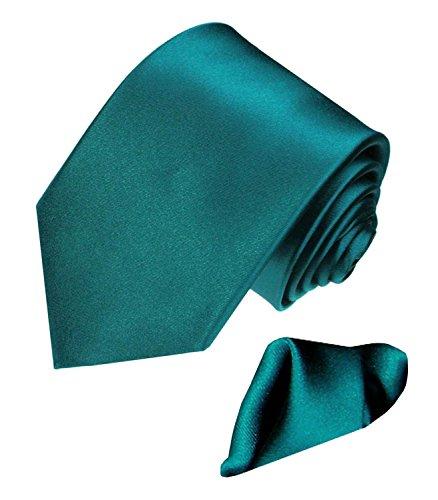 Lorenzo Cana Lorenzo Cana - Marken Set aus 100% Seide : türkis petrol farbene Krawatte mit Einstecktuch aus Satinseide - 8444101